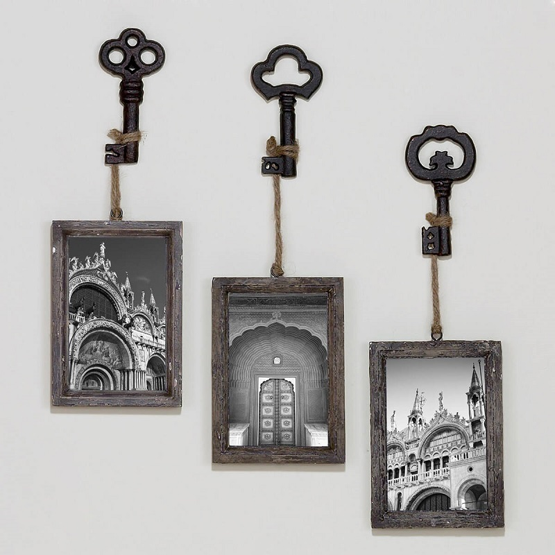 Retro Skeleton Key Picture Frame Set