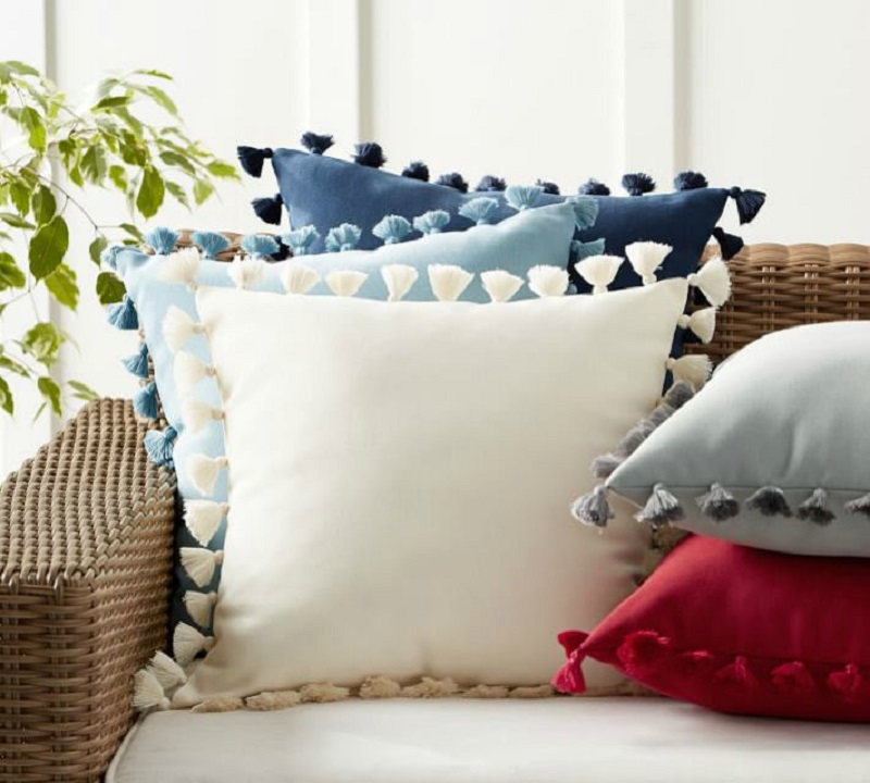 Solid Outdoor Tassel Trim Pillow