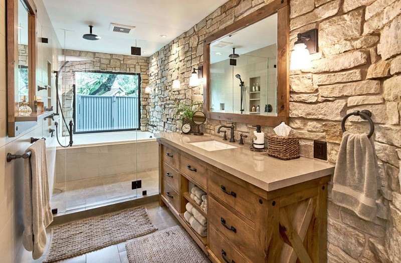 Exposed Bricks For Bathroom Rustic Cabinets