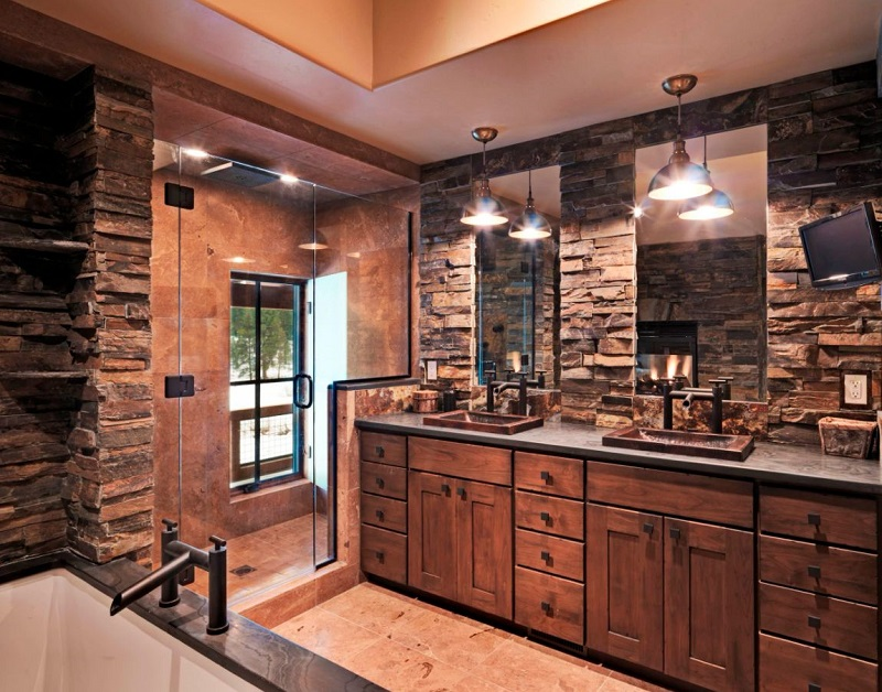 Rustic Bathroom With Double Vanity And Exposed Bricks