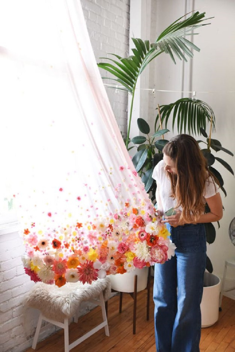 DIY Floral Curtains