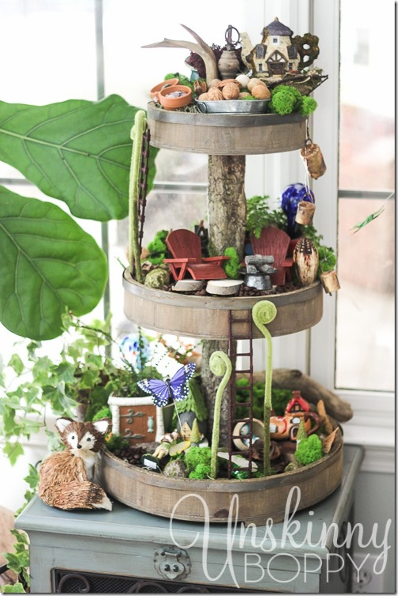Fairy Garden In A Rustic Wooden Tiered Tray