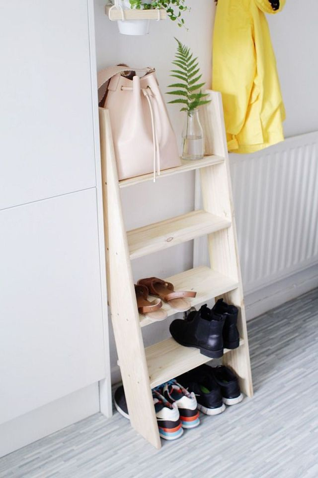 Ladder Style Shelf In The Small Entry