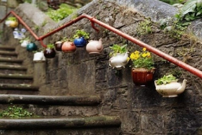 Old Teapots Holding Flowers