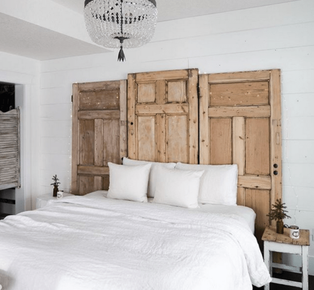 Platform Bed And Salvaged Door Headboard