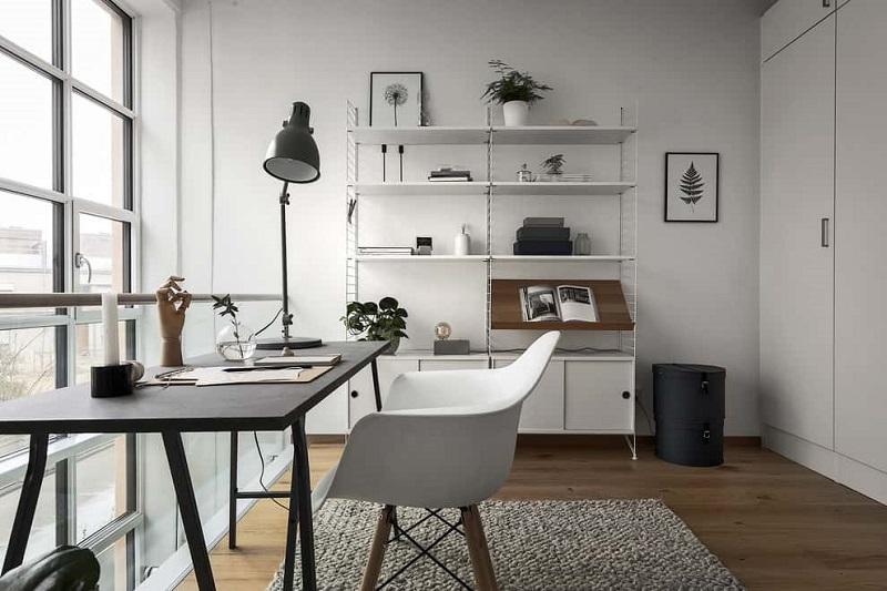 Scandinavian Home Office With Natural Light