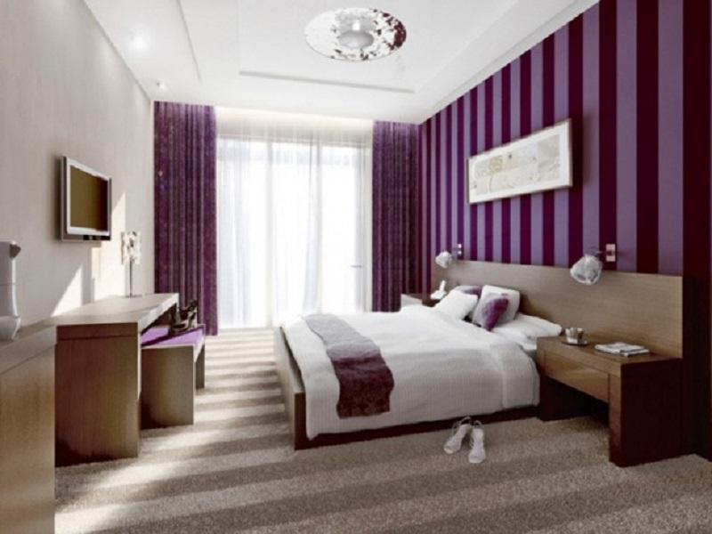 Striped Purple Bedroom Wall