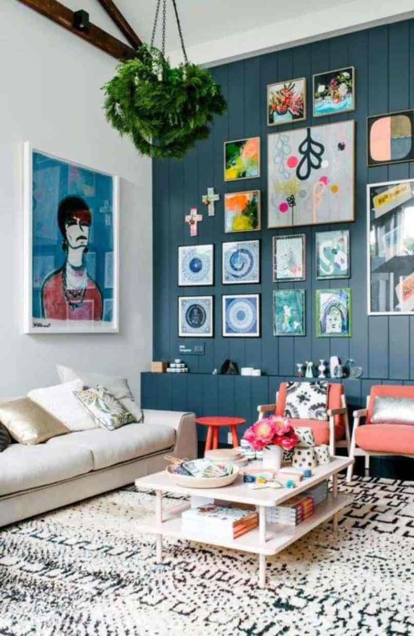 Vintage Gallery Wall With Multi Colored Frames