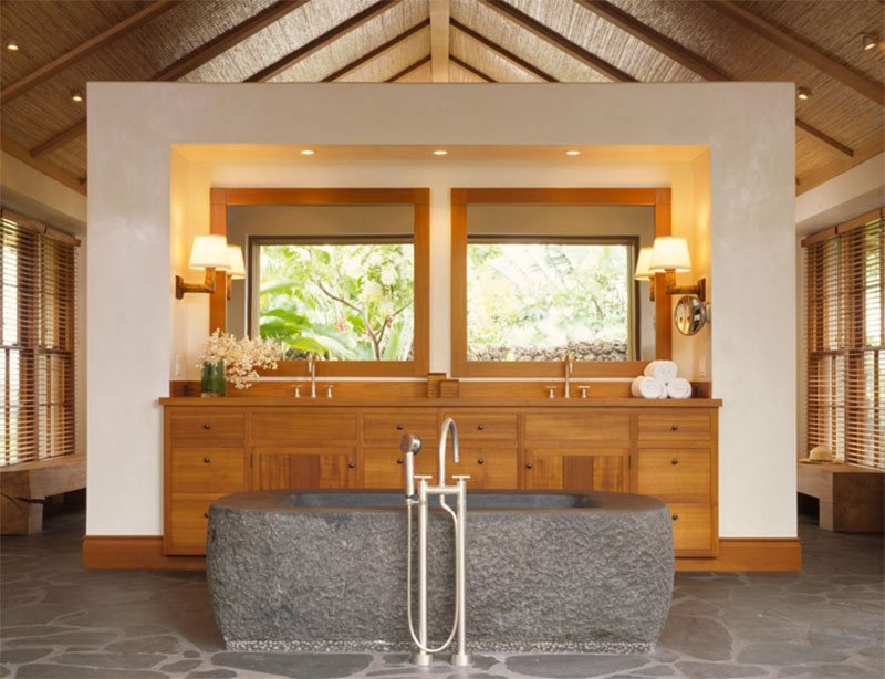 With Stone Bath Tub