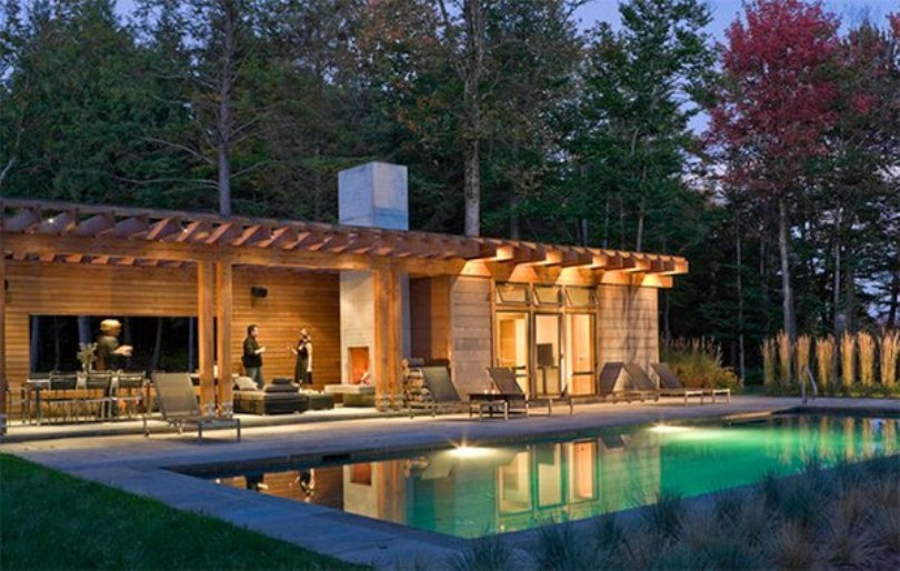 Wooden House With A Rectangular Pool