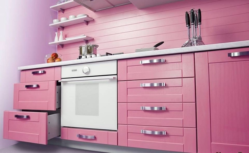Pink Modern Farmhouse Cooking Space