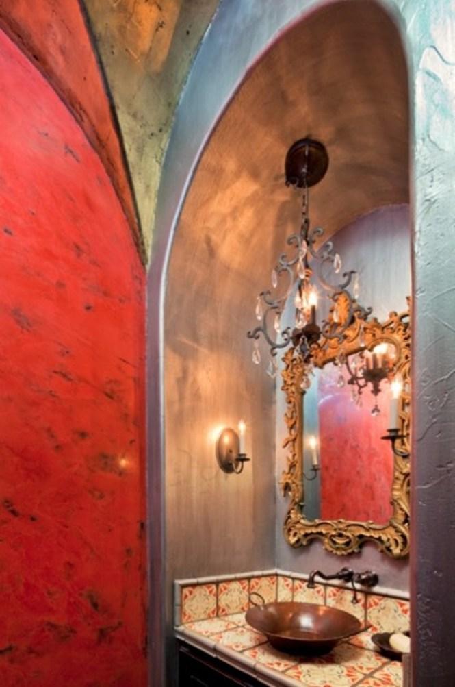 Powder Room With Spanish Design