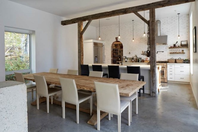 White Brick Wall And Rustic Oak Wooden Interior