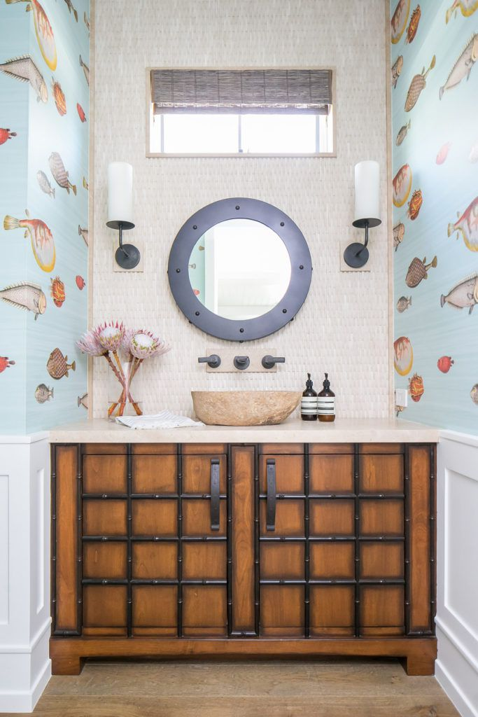 With Fish Patterned Wallpaper