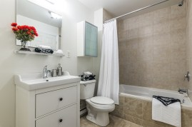 Functional And Neat Condo Bathroom