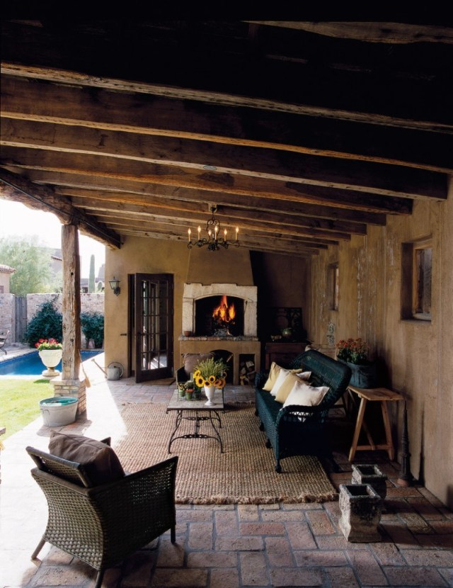 Rustic Covered Patio With Wooden Beams