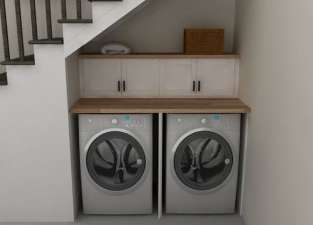 Laundry Room With Storage Under The Stairs