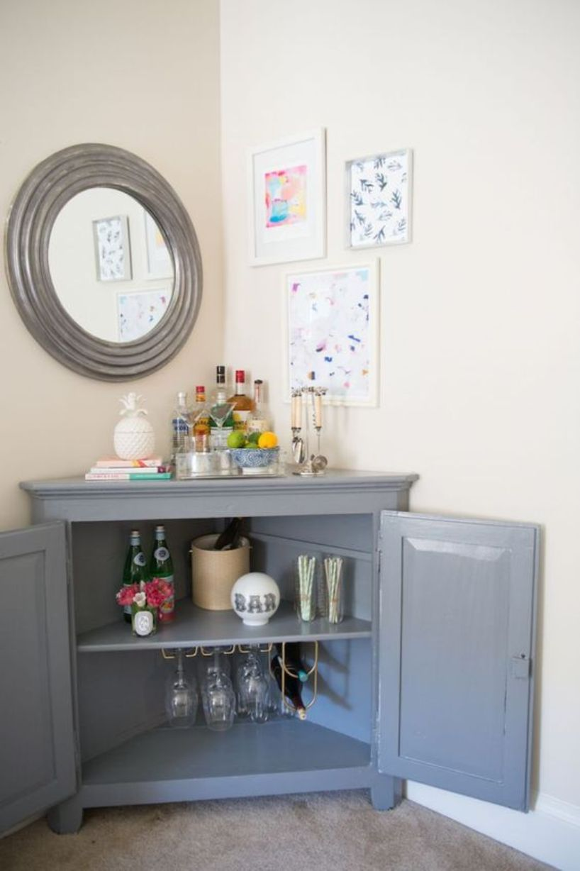 A Stylish Home Bar From Corner Cabinet