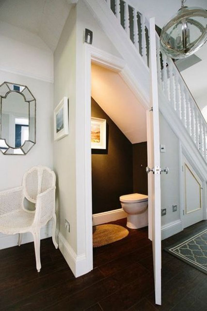 Powder Room With Black And White Decor