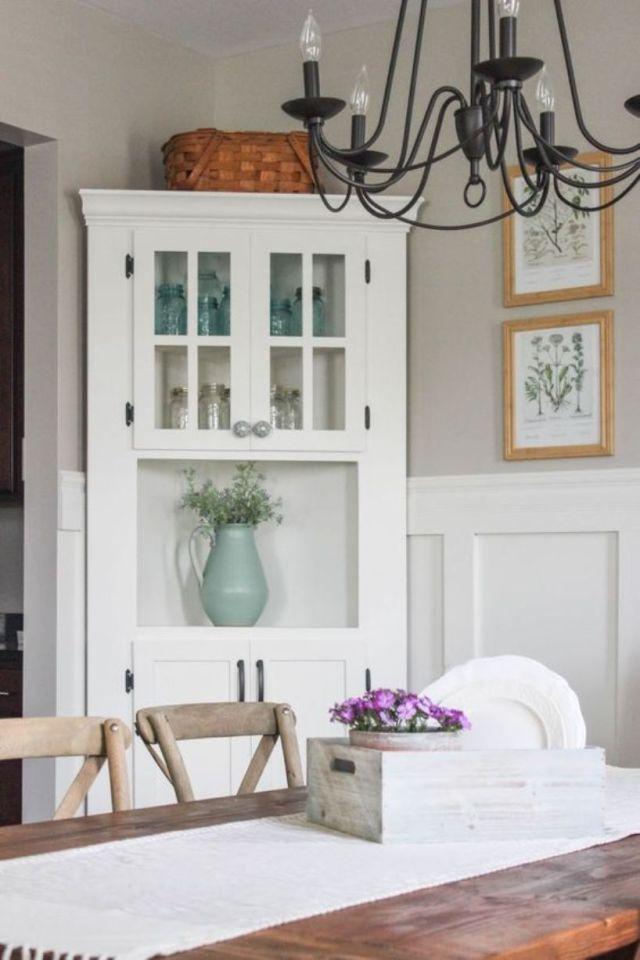 Vintage Inspired White Corner Cabinet