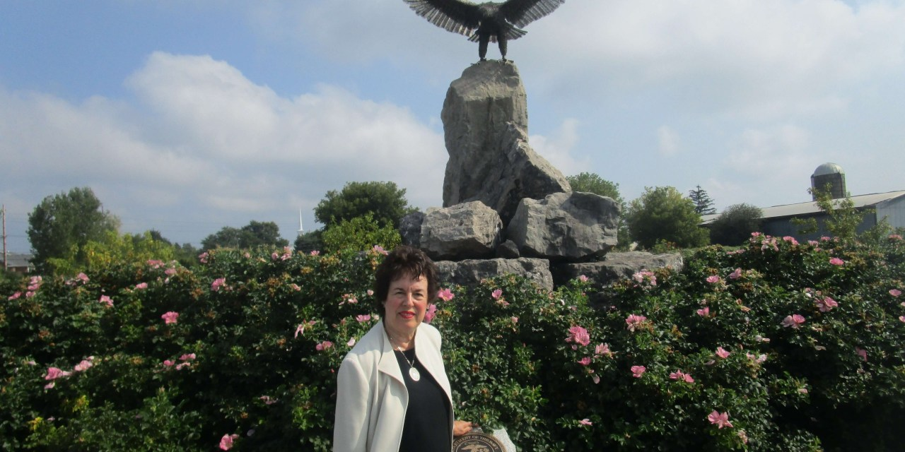 On a stainless steel American Bald Eagle in Buckland Park and endorsing Sandra Frankel