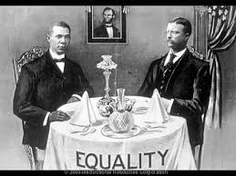 """Mr. Crane's Vivid Story"" (Scene 23 of 24) Booker T. Washington dines with Theodore Roosevelt in the White House, 1901"