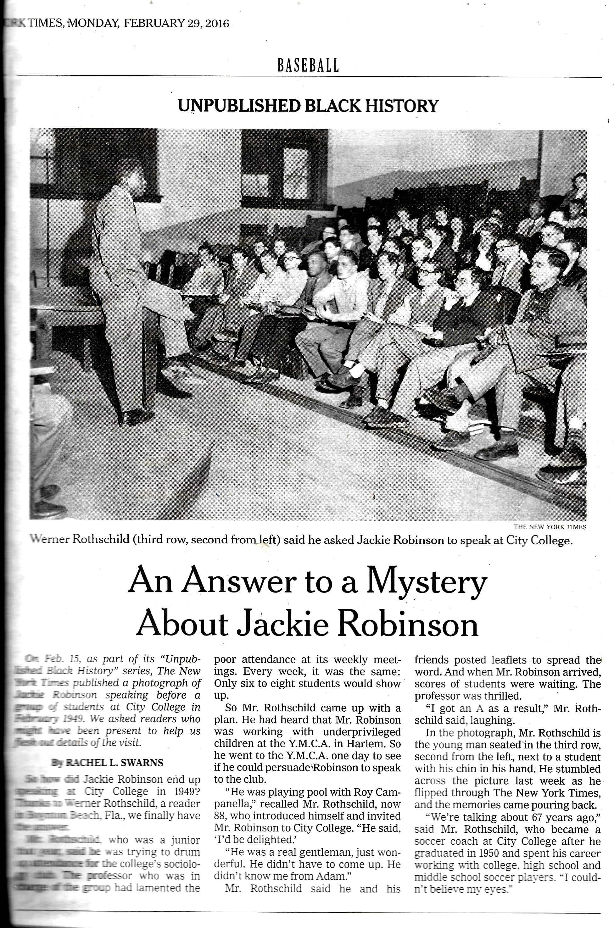 Ny Times Asks For Help With A Jackie Robinson Mystery