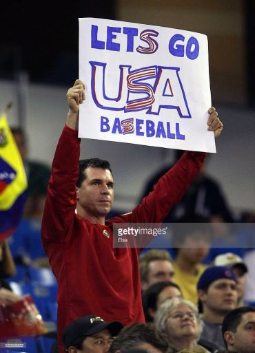 TORONTO - MARCH 11: A fan cheers on the USA team during the 2009 World Baseball Classic Pool C match at the Rogers Centre March 11, 2009 in Toronto, Ontario, Canada. Venezuela defeated the USA 5-3. (Photo by Elsa/Getty Images)