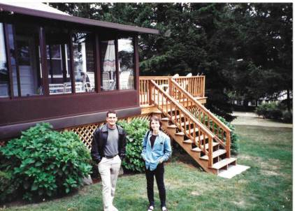 The beach house, Narragansett, Rhode Island circa 1998, my sister Leslie to right