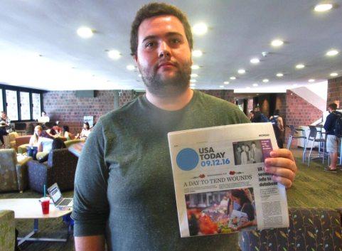 UR senior Mike Gilbert, print and proud