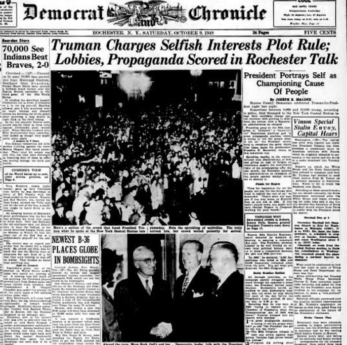 truman-democrat-and-chronicle-9-oct-1948-sat-page-1