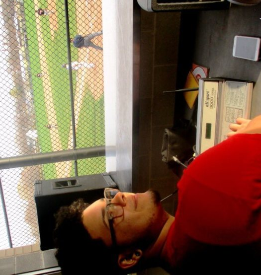East senior Yonatan Montes in the press box.