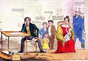 Whig cartoon showing the effects of unemployment on a family that has portraits of Andrew Jackson and Martin Van Buren on the wall