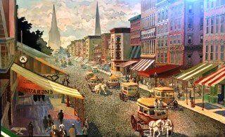 Broadway & Chambers Street, 1859, based on an old photograph. Oil on canvas 42 x 26 new