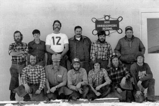 Lincoln Chafee in MSU Horseshoeing School 1976