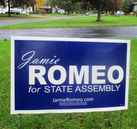 Although Romeo is running unopposed, I did see one sign for her on Vernon Place in Brighton.