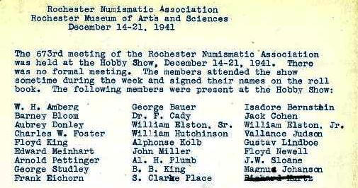 From Rochester Numismatic Association Minutes, 1942
