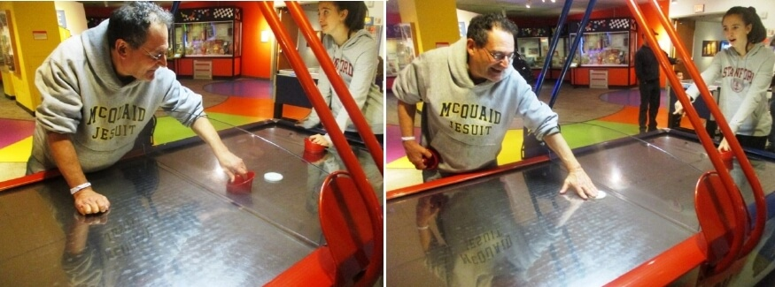 What are the rules of air hockey and what is a spin?