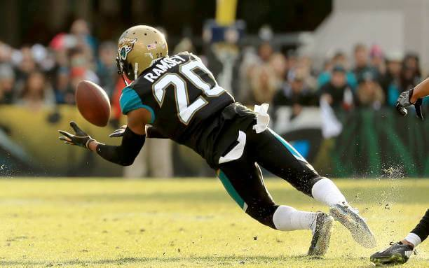 JACKSONVILLE, FL - JANUARY 07: Jalen Ramsey #20 of the Jacksonville Jaguars makes an interception during AFC Wild Card playoff game against the Buffalo Bills at EverBank Field on January 7, 2018 in Jacksonville, Florida. (Photo by Mike Ehrmann/Getty Images)