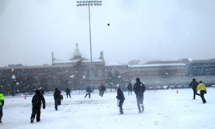 Cold and snowy Turkey Bowls at Reifsteck Field