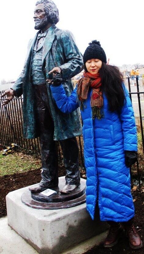 Olivia Kim, creator of the Douglass statues, 1 Tracy Street, 12/21/18 [Photo: David Kramer]
