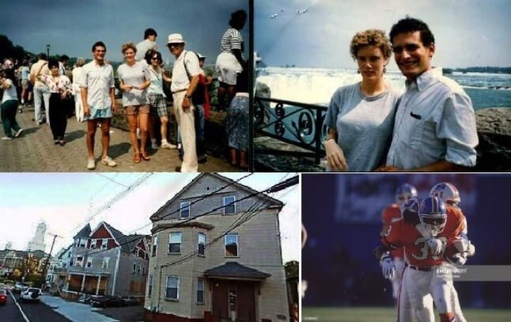 (top) David Kramer and Daphne at Niagara Falls, August 1989; (bottom left, 366 Hope St. Providence, RI, the December 17th New England Patriots - Denver Broncos game) Chabad of Providence Rhode Island