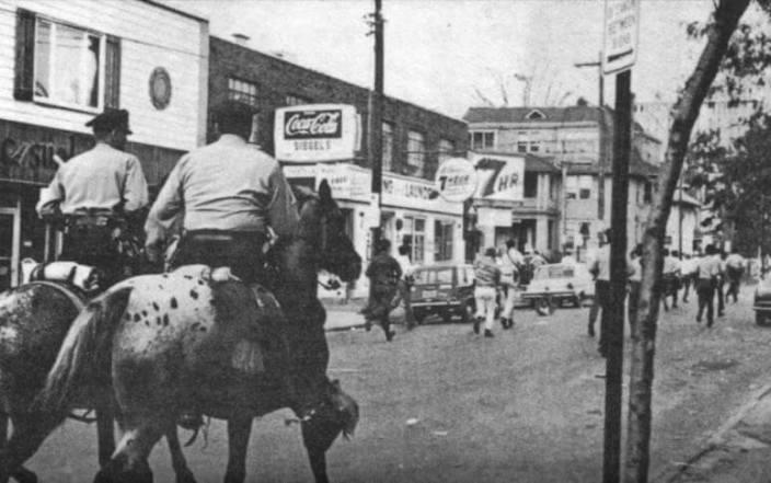 Police Charging Down Marshall Street - Sept. 26, 1970 newspaper photo