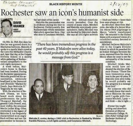Democratt and Chronicle, From 51 years ago when Malcolm X was assassinated 5 days after his prophecy in Rochester. And his Speech to Mississippi Youth