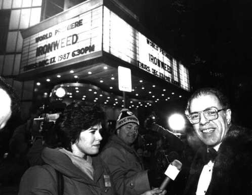 """Author William Kennedy arrives at the """"Ironweed"""" premiere on Dec. 17, 1987. (Albany Times Union archive)"""