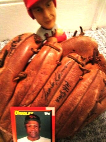 Frank Robinson and a glove signed at the 1988 Orioles-Red Wings exhibition game
