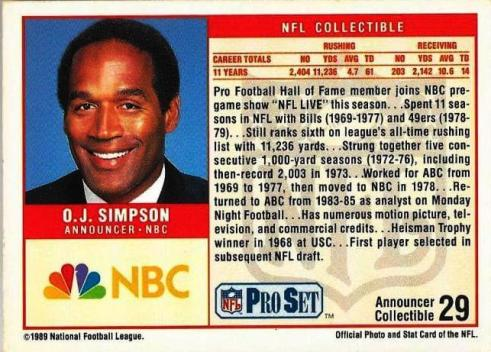 O.J. Simpson © 1989 National Football Football League