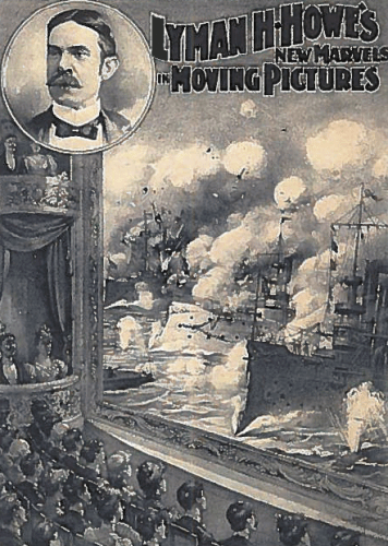"""Post-advertising-Edward-Amets-faked-Spanish-American-War-film-356x500A filmed """"fake"""" recreation of the battle of Manilla Bay, circa 1898"""
