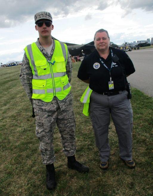 (left) Matthew, a Civil Air Patrol Cadet with Lt. Colonel Candi Jones, CAP Squadron Commander