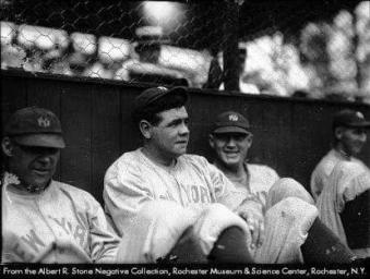 Ruth and teammates in the dug out of the Bay Street ball yard